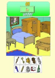 English Worksheet: In on under game/poster
