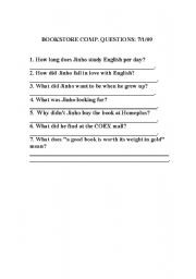 English Worksheets: Jinho goes to the bookstore comprehension questions