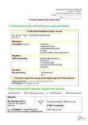present continuous for future plans worksheet pdf