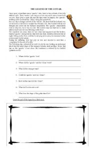 English Worksheet: The Legend of the Guitar
