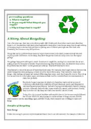 English Worksheet: A Story About Recycling