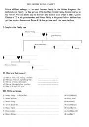 English Worksheet: british royal family - family tree