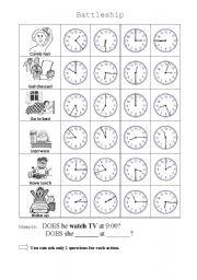 English Worksheets: Daily Routine Battleship
