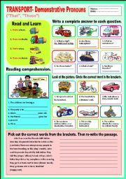 English Worksheet: Transport - Demonstrative Pronouns (That, Those)
