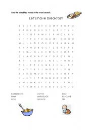 English Worksheet: English breakfast word search