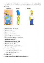 English Worksheet: DESCRIBING SIMPSONS CHARACTERS