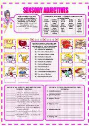 English worksheets: SENSORY ADJECTIVES