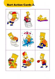English Worksheets: Bart Action Cards 2.