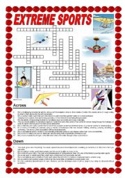 English Worksheet: Extreme sports - crossword