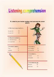 English Worksheets: Listening Comprehension