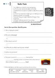 English Worksheet: The radio poem