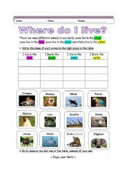 English Worksheets: Where do I live?