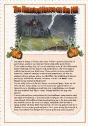 English Worksheets: The Haunted House on the Hill