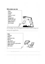 English Worksheets: write about your day