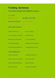 English Worksheets: FINISHING SENTENCES