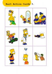 English Worksheets: Bart Action Cards 3.