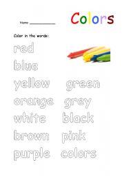Worksheets Color Words Worksheet english worksheet color in the words