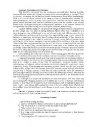 English Worksheet: Marriage of Convinience