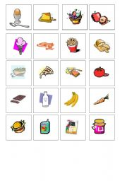 English Worksheet: food - memo