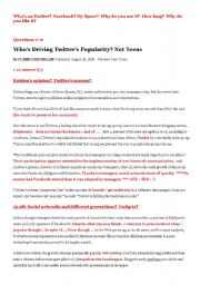 English Worksheet: Facebook and Twitter lesson plan