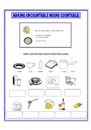 English Worksheets: MAKING UNCOUNTABLE NOUNS COUNTABLE