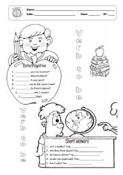 English Worksheet: Verb to be interrogative form and short answers