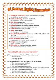 English Worksheets: 10 common english expressions