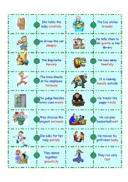English Worksheets: Adverb Domino-2