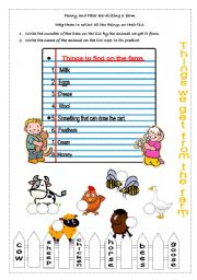 English Worksheets: Farm animals and their produce