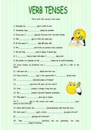 Verb tenses - Simple Present, Simple Past and Future (will ...