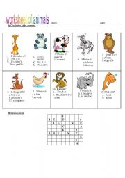English Worksheets: Worksheet of animals