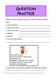 English Worksheets: QUESTION PRACTICE (3 pages)