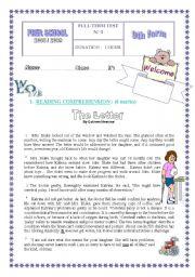 English Worksheet: FULL TERM TEST N° 3  FOR 9TH BASIC EDUCATION