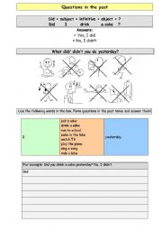 English Worksheets: Questions in the past