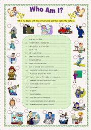 English teaching worksheets: Who am I?