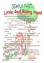 English Worksheet: Little Red Riding Hood - past form of verbs gap fill (2 pages + B&W version included)