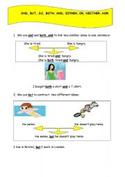 English Worksheet: AND, BUT, SO, BOTH...AND, EITHER...OR, NEITHER...NOR