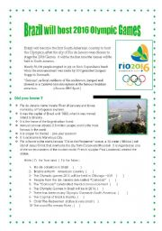 English Worksheet: Olympic Games 2016