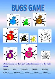 English Worksheets: BUGS GAME - colours & numbers 1-10 (sample dialogue for the game on the 2nd page)