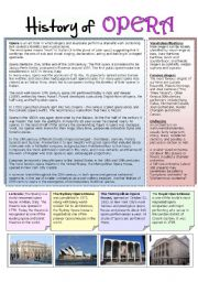 English Worksheets: History of opera