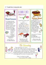 English Worksheets: Restaurant ads