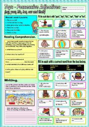 English Worksheet: Toys - possessive adjectives (my, your,his,her,our and their)