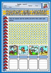 English Worksheet: SEASONS AND MONTHS