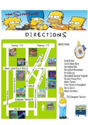 English Worksheet: THE SIMPSONS: GIVING DIRECTIONS