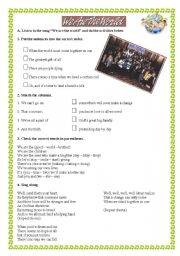 English Worksheets: Music activity - We are the world