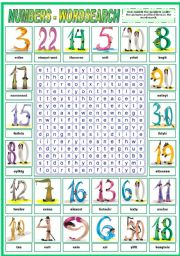 English Worksheet: NUMBERS - WORDSEARCH (B&W VERSION INCLUDED)