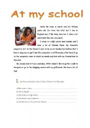English Worksheets: At my school - reading comprehension
