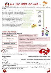 English Worksheets: ALL YOU NEED IS LOVE