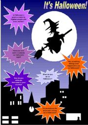 English Worksheet: It´s Halloween! - Conversation, vocabulary & reading comprehension - 3 pages - fully editable