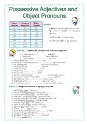 English Worksheet: Possessive adjectives and object pronouns